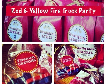 Red & Yellow Fire Truck Fireman Birthday Party Crayon Favors