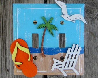 BEACH Switch Plate Cover - Hand Painted Wood