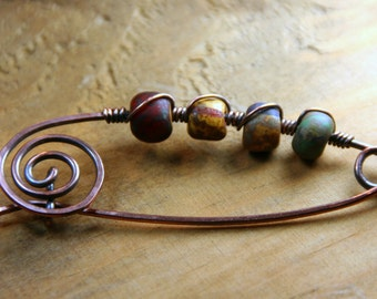 Shawl Pin - Hammered Copper Kilt Style Pin with Rustic Bead Mix Wire Wrapped - Gift idea