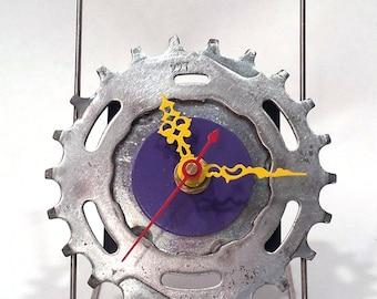Recycled Bicycle Sprocket & Spoke Desk Clock - Purple