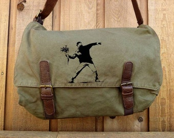 Banksy Flower Thrower on Canvas Messenger bag - Hand Painted -Alternative Apparel Messenger Bag