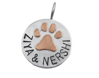 Mixed Metal Paw Print Charm Hand Stamped Pet Name Jewelry Custom 14K Gold Paw Print on Sterling Silver Pendant Personalized Engraved Fine