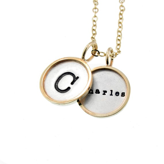 Rimmed Double Charm Name Necklace Hand Stamped Initial Personalized Mommy Dad Jewelry Custom Engraved Family Kid's Pendant Artisan Handmade