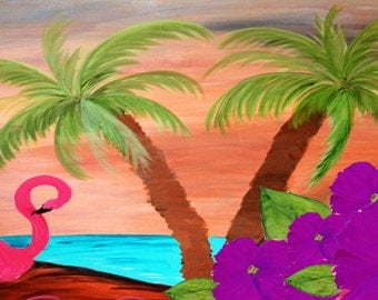 Flamingo in Paradise Party Beach Towel from my art