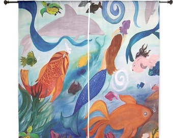 "Dolphins,tropical fish and mermaid party shear curtains available in 60"" or 84"" lengths"