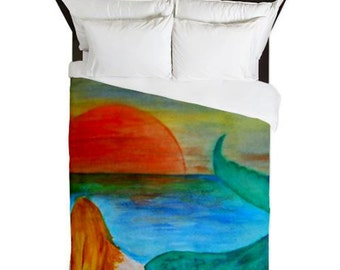 Sunset Mermaid Beach Duvet Cover from my art. Available in twin,queen and king sizes