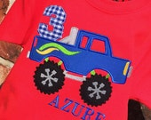 Boys Personalized Appliqued Monster Truckon Red