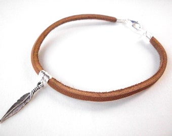 """Mens feather bracelet, leather bracelet, women's leather bangle, unisex  9"""" inch brown tan leather suede jewelry"""