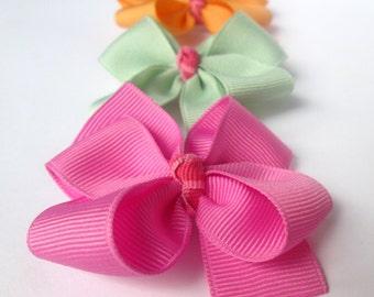 Summer Hair Bows, Pink Strawberry, Lime Green and Orange, Fruit Sorbet Color Palette - set of 3