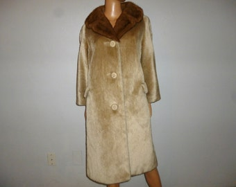 """BLONDES Have More Fun - Vintage 50's - Mink Collar - Blonde Faux Fur - Mod - Trapeze -  Swing - Coat - by Brazotta - bust: 45"""""""
