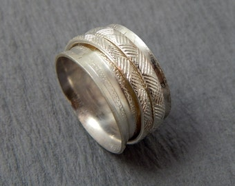 Basket Weave Sterling Silver Spinner/Worry Ring