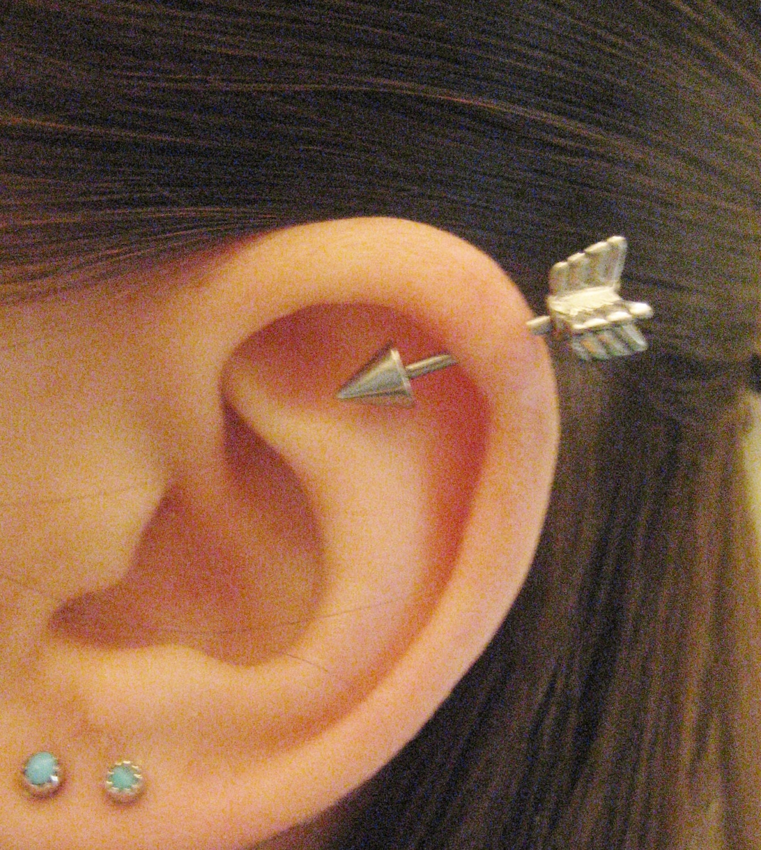 16 gauge arrow helix piercing earring stud post arrowhead head