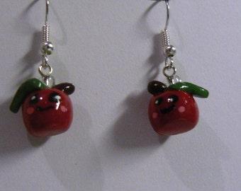 Happy Apple Earrings - polymer clay