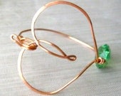 Copper Heart Bangle, Copper Heart Bangle Bracelet, Heart Bangle, Bangle Bracelet, Copper Bracelet, Wire Bangle, Valentines Jewelry, Heart