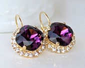 Vibrant Amethyst Swarovski Crystals Framed with Halo Crystals on Gold Leverback Earrings