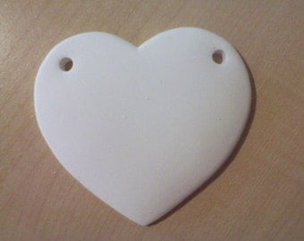 4 Heart Shaped 3.75 inch Ceramic Bisque with 2 holes Ready to Paint  ORnAMENTs Made in USA