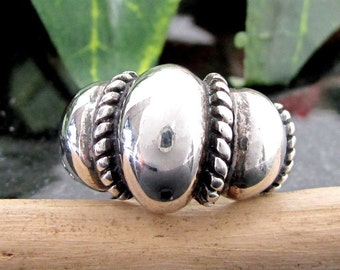 Vintage Sterling PUFFY ROPE DESIGN Ring Size 9.25 Large Dimensional