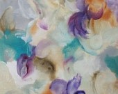 Abstract Expression Art Original Contemporary Painting turquoise violet orchid gray. Musing 31