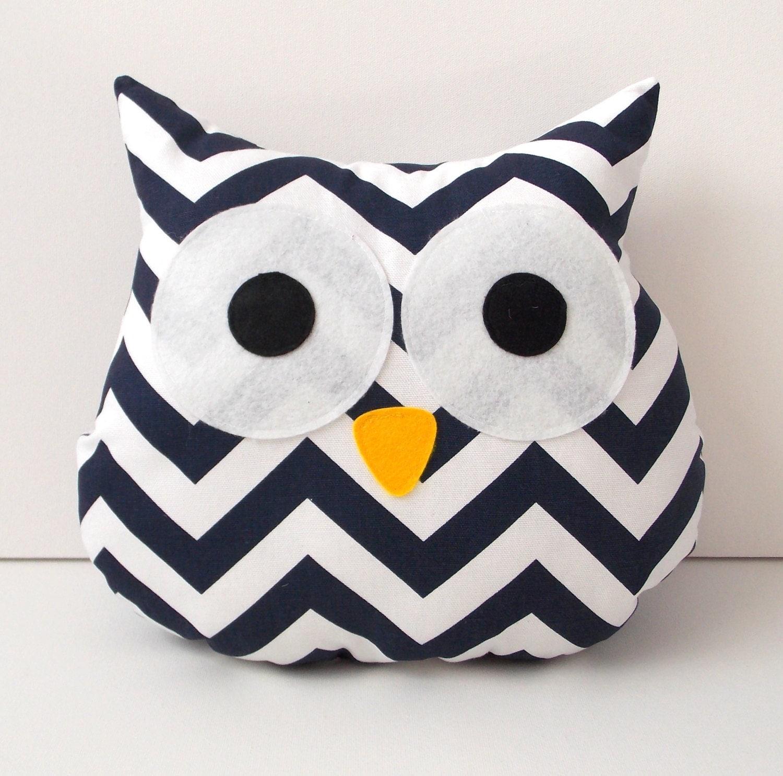 Owl Pillow Navy White Chevron Owl Decor Home Decor