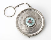ART DECO guilloche enamel Pink Rose silver on blue background plated Compact dance purse VINTAGE