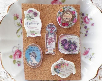 Beautiful Vintage Flower / Flowers / Floral Perfume Label Rose / Roses Images Thumbtacks / Push Pins--Set 3, Hostess Gift, Shabby and Chic