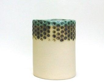 hand built porcelain vessel   ...   lots of dots