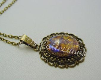 Amethyst Fire Opal Antique Bronze Necklace
