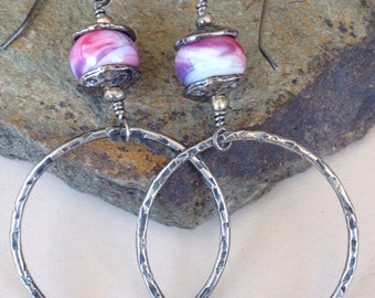 Hand Forged Medium Sterling Silver Hoops and Lampwork Bead Earrings (126)