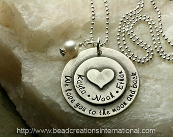 NEW Sterling Silver We Love You To The Moon and with Three Names Small Heart Stacked on Top Hand Stamped Necklace