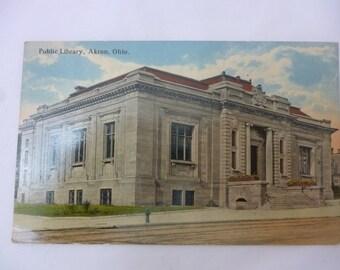 Antique Postcard, Akron Public Library, Summit County, Ohio, Unused