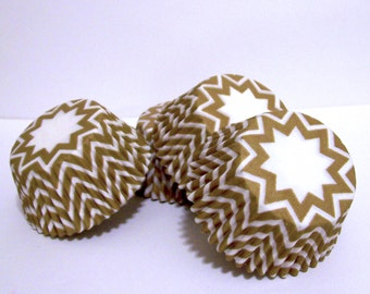 Gold and White Chevron Paper Baking Cups- Choose Set of 50 or 100