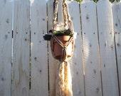 "Small Macrame Plant Hanger-Natural Tone-36"" Length-Split Twist Pattern"