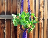 "Large Macrame Plant Hanger-Rich Jewel Tone Purple- Bird Cage Top-56"" Solid Twist"