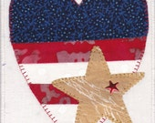 Patriotic Flag Heart Quilted Fabric Postcard