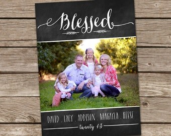 Photo Christmas Card : Blessed Chalkboard Custom Photo Holiday Card Printable