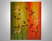 CUSTOM LISTING- Leaves of autumn- Original Botanical Abstract Painting of Leaves.  Free shipping inside US. 16 by 20 inches