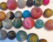 Natural rock and agate druzy type titanium and mystic coated mixed RANDOM sampler 10 piece lot