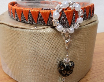 Sparkly Halloween Cat Collar with Black Cat Charm