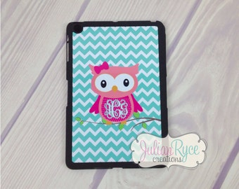 Custom Monogrammed iPad Mini Owl Hard Magnetic Smart Case