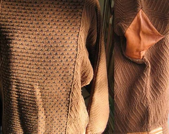 Sweater Chestnut Brown Textured and Patterned Wool with Leather Inserts