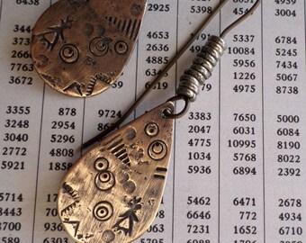Brass Teardrop Mixed Metal Dangle Earrings, Earthy Rustic Primitive Textured Urban Ethnic Tribal Artisan Earrings Handmade Metalwork Jewelry