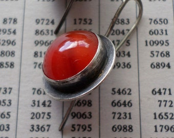 Carnelian & Sterling Silver Earrings, Bright Juicy Orange Carnelian Candy Earrings, Modern Urban Charcoal Handwrought Metalsmith Earrings