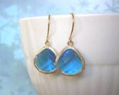 Royal Blue Earrings, Gold Earrings, Best Friend Gift, Wife Gift, Bridesmaid Earrings
