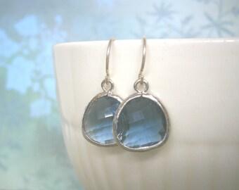Sapphire Earrings, Blue Earrings, Silver Earrings, Holiday Gift, Wife Gift, Christmas Gift, Mom Gift