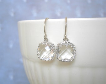 Clear Crystal Earrings, Petite Earrings, Silver Earrings, Simple, Everyday Jewelry