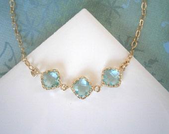 Blue Choker, Aquamarine Necklace, Gold Bracelet, Best Friend Birthday, Gold Choker