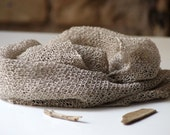 SALE. Hand knitted scarf  from natural, not dyed linen.  A stem of flax. Ready to ship.