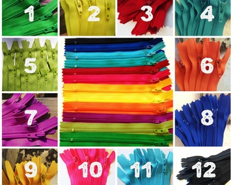 9 inch zippers, choose color, FIVE zippers wholesale lots, dress, skirt, 3 mm coil zippers