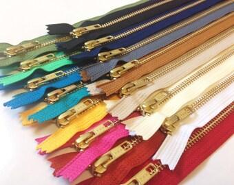 10 inch metal YKK zippers, 15 pcs, Gold teeth zip sampler, brass, black, grey, navy, brown, beige, white, red, teal, pink, blue, olive, mint