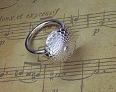 Art deco button sterling silver ring London Hallmarked